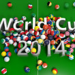 Soccer balls with various flags and World Cup 2014 3D text on playing field — Foto Stock