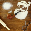 Santa Claus made of flour smoking pipe — Stock Photo