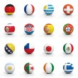 Soccer balls with various flags isolated on white — Stock Photo #36707283