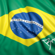 Waving Brazilian flag with signature — Stock Photo