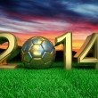 Gold 2014 with gold soccer ball on grass — Stock Photo