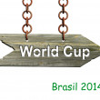 Wooden sign on chain with World cup text, isolated on white — Stock Photo