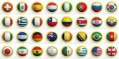 Soccer balls with various flags isolated on white — Stock Photo