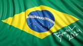Waving Brazilian flag with signature — Stock Photo