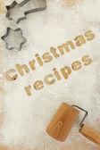 クリスマスの調理法の小麦粉の背景に書く — ストック写真