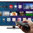3D smart tv with hand holding remote control isolated — Stock Photo #38966941