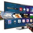 Smart tv with apps and hand holding remote control — Stock Photo