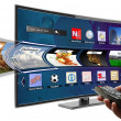 Smart tv with apps and hand holding remote control — Stock Photo #38967085