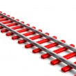 3D rendering red railway track, isolated on white background — Stock Photo #38967675