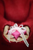 Female hands with long sleeves holding gift box — Stock Photo