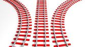 Three 3D rendering red railway tracks, isolated on white — ストック写真