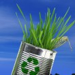 Can with growing grass on soil and blue sky — Stock Photo