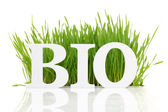 "Word ""Bio"" with fresh grass isolated on white — Stock Photo"