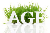 """Word """"Age"""" with fresh grass isolated on white — Stockfoto"""