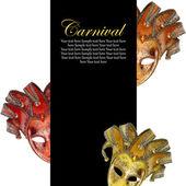 Vintage venetian carnival masks with blank banner — Stock Photo