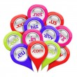 Glossy 3D set of domain pin-pointers isolated on white — Stock Photo #40285443