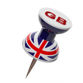 3D pushpin with flag of Great Britain isolated — Stock Photo