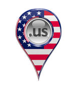 3D pin domain marker with American flag isolated — Stock Photo
