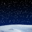 Stock Photo: Fresh snow cover, at night. Winter background