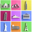 Colorful collection of worlds most famous landmarks — Stock Photo #40786249