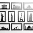 Collection of worlds most famous landmarks in frames — Stock Photo #40786455
