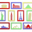 Colorful collection of worlds most famous landmarks in frames — Stock Photo #40786475