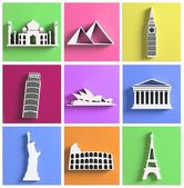 Colorful collection of worlds most famous landmarks — Stock Photo