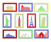 Colorful collection of worlds most famous landmarks in frames — Stock Photo