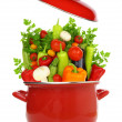 Colorful vegetables in a red cooking pot isolated on white background — Stock Photo #41537143