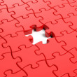 Jigsaw puzzle red blank template with one piece missing — Stock Photo