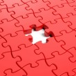 Jigsaw puzzle red blank template with one piece missing — Stock Photo #41537623