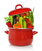 Colorful vegetables in a red cooking pot isolated on white background — Stok fotoğraf