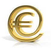 3D gold money online symbol isolated on white — Stock Photo