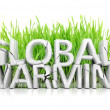 Stock Photo: Grass with broken Global Warming 3D text ecological concept isolated