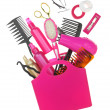 Various hairstyling equipment in shopping bag isolated on white — Foto Stock