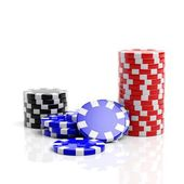 Fine casino gaming checks isolated on white background  — Stock Photo