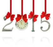 2015 number ornaments with clock hanging on red ribbons — Stock Photo