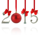 2015 number ornaments hanging on red ribbons — Stock Photo
