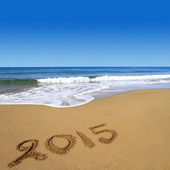 2015 written on sandy beach — 图库照片