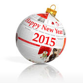 Newspaper happy new year 2015 ball on white background  — Stock Photo