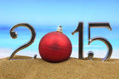 Year 2015 numbers on the beach — Stock Photo