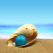 Hristmas ball in a sea shell on the beach — Foto de Stock