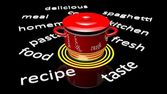 Red pot with various cooking related text around it. — Stock Photo
