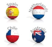 Group of soccer balls Spain,Netherlands,Chile,Australia, isolated — Stok fotoğraf