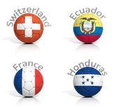 Grup futbol topları i̇sviçre, fransa, ekvator izole honduras — Stok fotoğraf