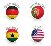 Group of soccer balls Germany,Portugal,Ghana,USA isolated — Foto Stock