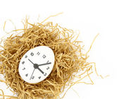 Clock dial on white egg inside nest isolated — Stock Photo