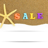 Sale text and starfish with banner on sand — Stock Photo