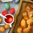 Colored Easter eggs and liquid color dyes — Stock Photo #44936543