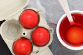 Colored Easter eggs and liquid color dyes — Foto Stock